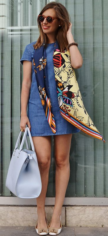 Scarf On Denim Dress Styling by Be Iconic