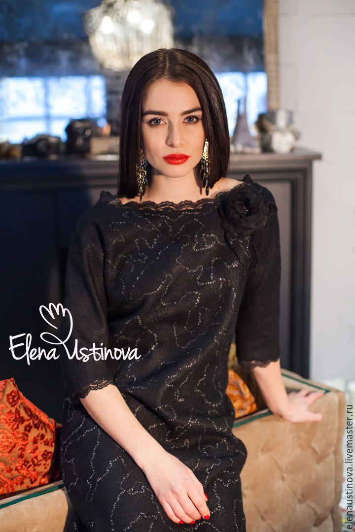 """Купить """"О любви"""" платье валяное - черный, абстрактный, платье черное, маленькое черное платье"""