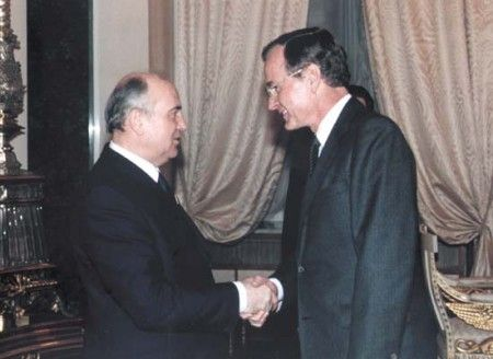 """""""On June 3rd 1990, President George Bush and Soviet leader Mikhail Gorbachev ended their three-day summit meeting with warm words of friendship, but without any concrete agreement concerning German reunification."""" FYI, The Berlin Wall fell on November 9, 1989 approximately 7 months earlier."""