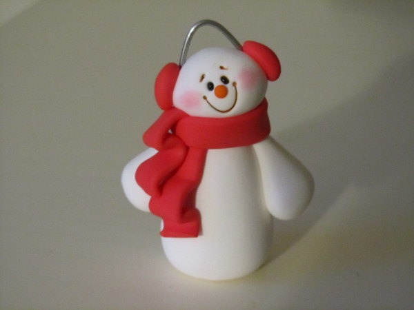 Whimsical Polymer Clay Snowman by ClayPeeps on Etsy, $7.50