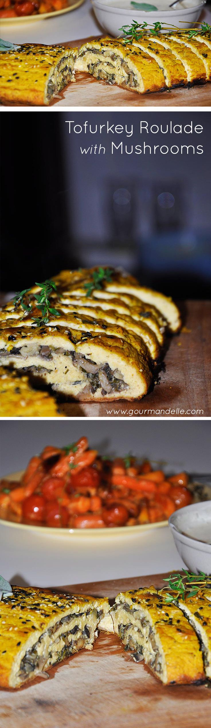 Tofurkey Roulade with Mushrooms...one of my best recipes so far!  | Gourmandelle.com