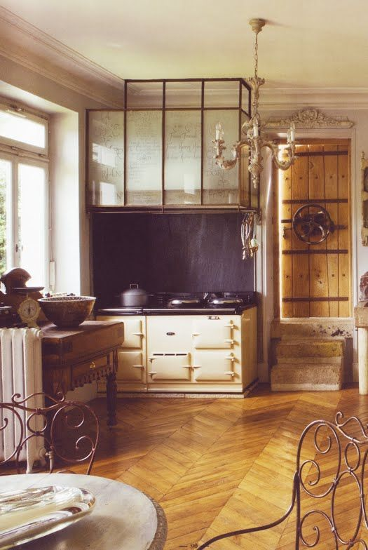 french kitchen w gear door and glass hood over aga stove c t paris spaces kitchens. Black Bedroom Furniture Sets. Home Design Ideas