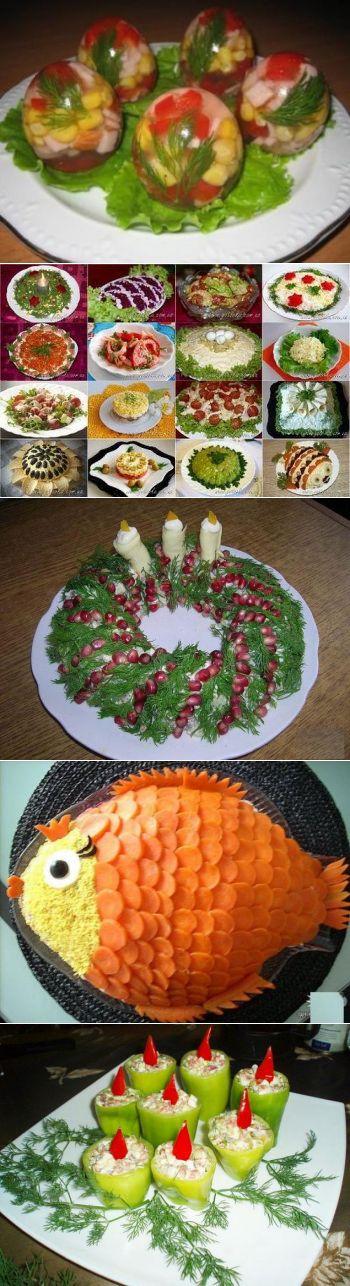 Заливные блюда. Салаты (рецепты). Варианты оформления салатов. Варианты оформления мясных нарезок.