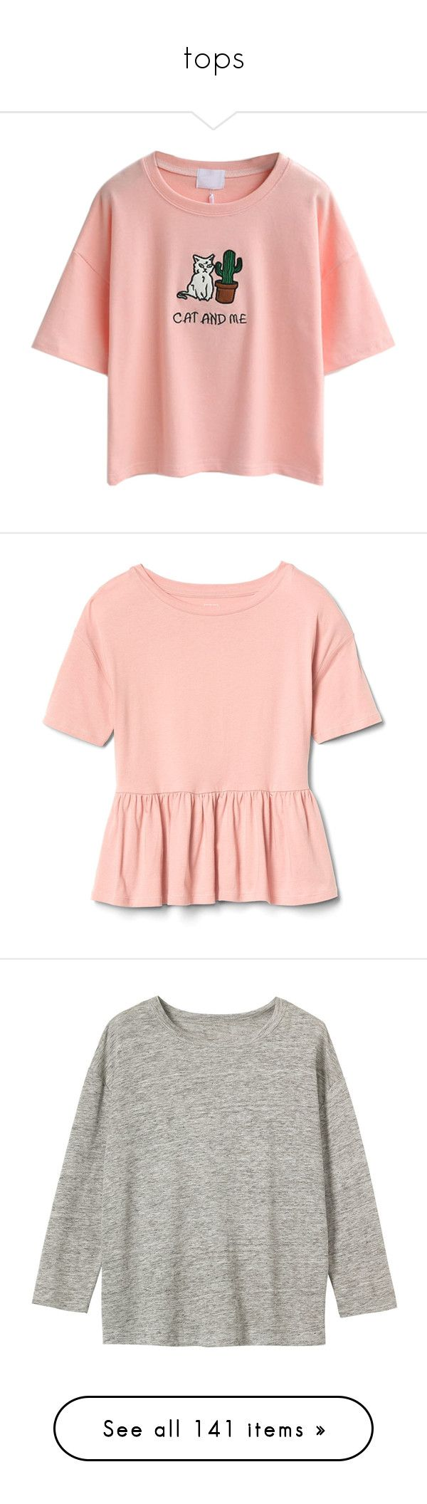 """""""tops"""" by pandadance ❤ liked on Polyvore featuring tops, t-shirts, shirts, blusas, cotton shirts, pink t shirt, embroidery t shirts, cotton t shirts, short sleeve shirts and flounce top"""