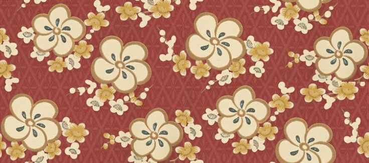 Blossom (275BLYELLO) - Little Greene Wallpapers - Bold, stylised cherry blossoms over a pretty delicate diamond tile effect.  Available in 4 colours – shown in the yellow colourway, which has a soft red background. Please ask for sample for true colour match.