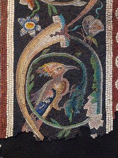 Woodpecker and butterfly. Detail of mosaic Mosaic of Zeus and Ganymede, Roman, mid-Imperial, 2nd century A.D. On loan from a private collection, Belgium (Metropolitan Museum of Art)
