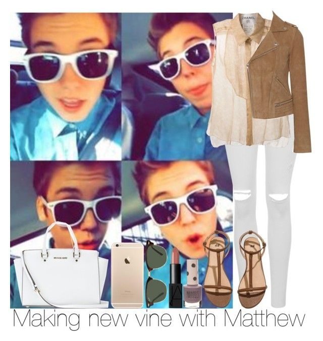 Making new vine with Matthew by irish26-1 on Polyvore featuring polyvore, fashion, style, Chanel, Maje, Topshop, H&M, MICHAEL Michael Kors, Ray-Ban and NARS Cosmetics