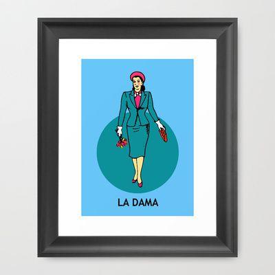 La Dama Mexican Loteria Framed Art Print by minervatorresguzman - $37.00
