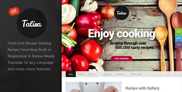 Talisa Food Recipes Restaurant WordPress Theme