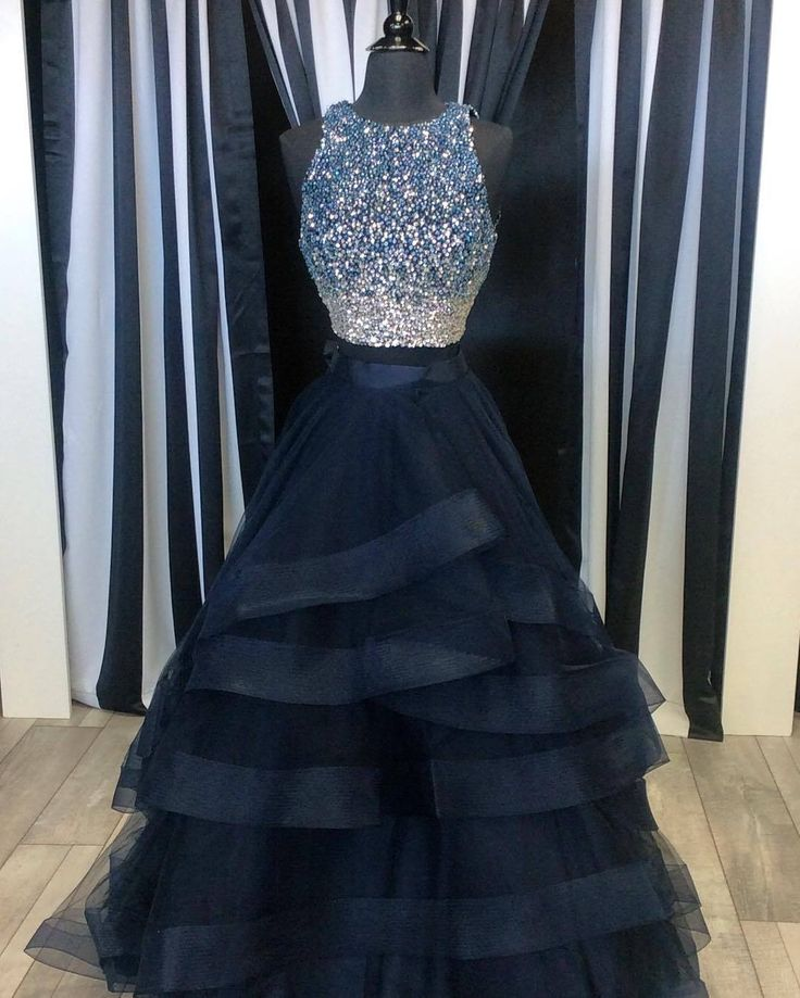 Two Piece Prom Dresses,Ruffles Ball Gowns,Sparkly Sequins Dress,2 Piece Prom Dress,Long Party Dress,Prom Dresses 2018,Black Prom Dress MT20186992