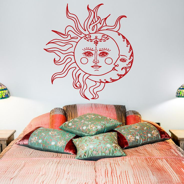 Soleil et Lune mur autocollant par FabWallDecals sur Etsy