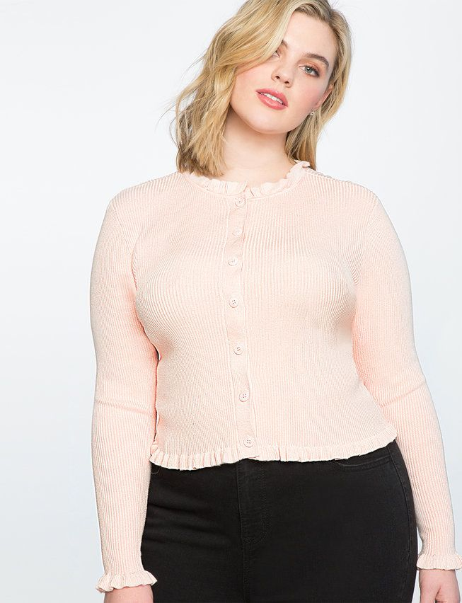Frilly Cropped Cardigan from eloquii.com