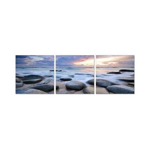 Elementem Rocks, Waves, Sky Mounted Triptych Art Print ($70) ❤ liked on Polyvore featuring home, home decor, wall art, seaside wall art, sun panels, rock panel, wave wall art and photography wall art