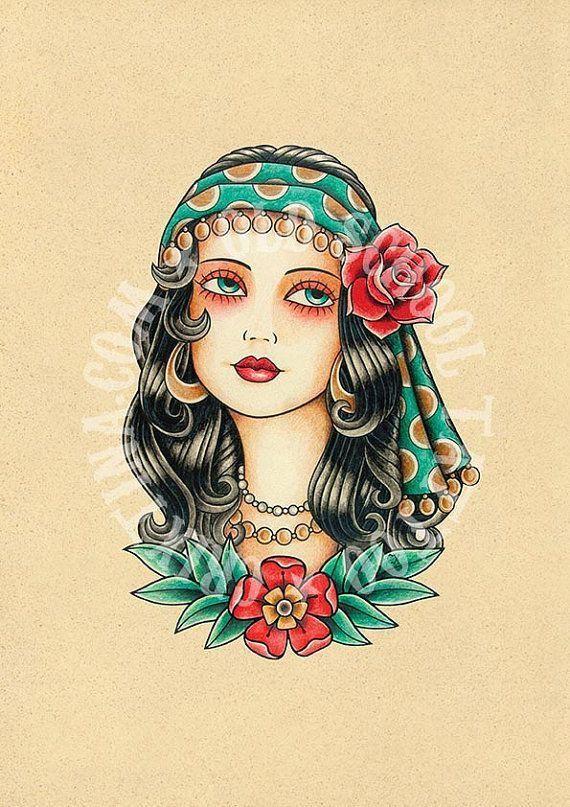 T01 Gypsy Woman Flash Tattoo Old School Tattoo Art Tattoo