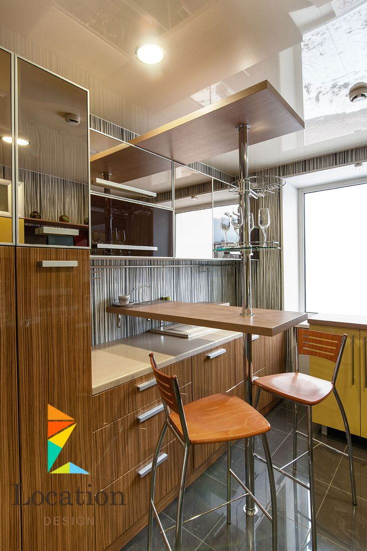 Kitchen design gallery - Tiny Natural Wood Kitchen In Modern Design With Small Dining Counter