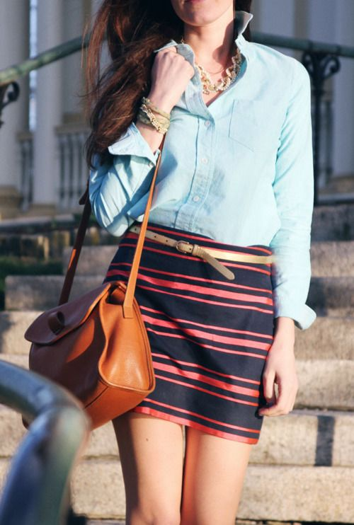 : Minis Skirts, J Crew, Chambray Shirts, Outfit, Denim Shirts, Stripes Skirts, Buttons, Jcrew, Bags