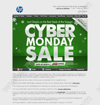 "HP (US), Subject: ""Cyber Monday Sale Ends at Midnight"""