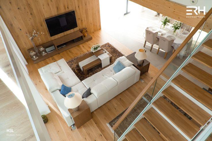House H3L in Kłodawa, Poland #architecture #design #modernarchitecture #dreamhome #home #house #modernhome #modernhouse #moderndesign #homedesign #homesweethome #scandinavian #scandinaviandesign #lifestyle #livingroom #interior #interiors #homeinterior #pastel #sofa #couch #stairs #woods #comfortzone #cozy  #white #decor #openspace #ecoreadyhouse #erh
