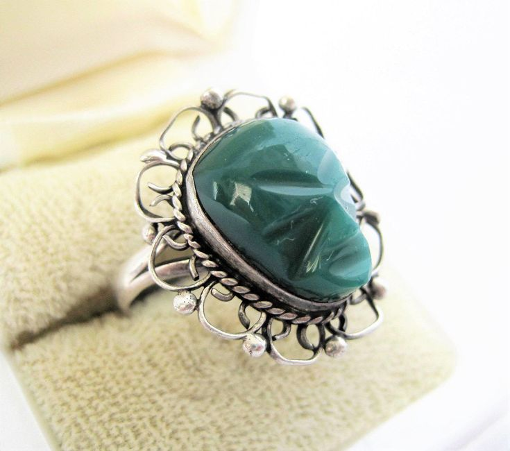 Excited to share the latest addition to my #etsy shop: Sterling Tribal Face Ring - 925  Carved Green Onyx  - Size 6 - Aztec Jewelry