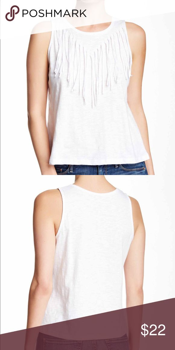 ☀️Summer Sale☀️ White Fringe Tank Top 100% cotton muscle tank with fringe detail front, perfect with denim shorts Paper Crane Tops Tank Tops