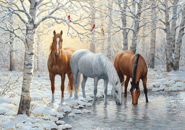 "HORSES Wild Winter Trio Cross Stitch Pattern LOOKYOUR FINISHED PATTERN SIZE. 360 Stitches x 270 Stitches 20.0"" X 15.0"" ON (18 COUNT) AIDA CLOTH. ~~ I SEND WORLD-WIDE ~~Free~~"