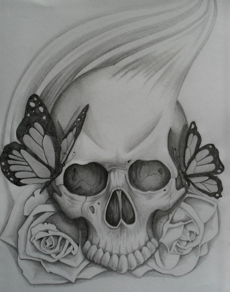 Skull rose and butterfly by steve b 666 on deviantart for Skull love tattoos