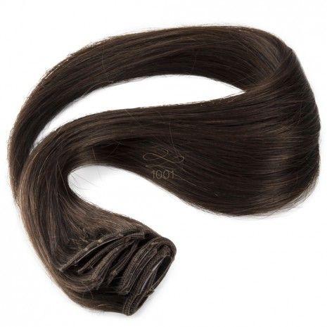 Clip-in hairextensions - Natuurlijk stijl haar - Diepbruin 50cm