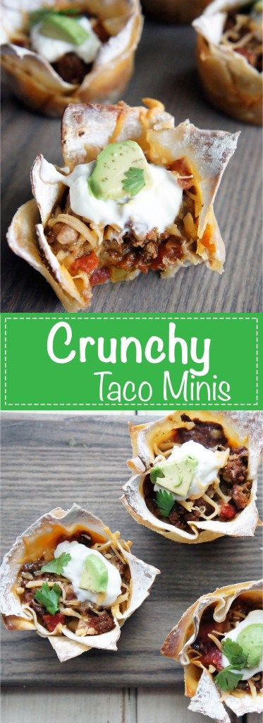 Crunchy Ground Beef taco cups! They are bite sized and oh so delicious!