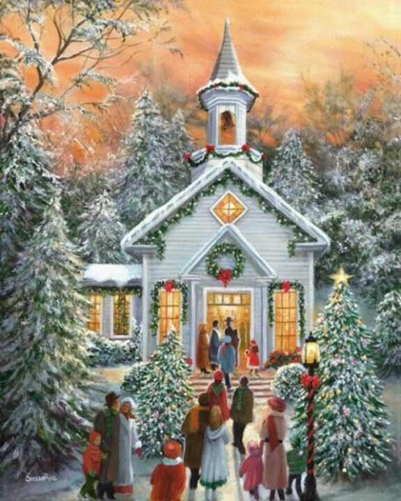 Painting Church In Snow Religious Christmas Ceramic: 1000+ Ideas About Christmas Scenes On Pinterest