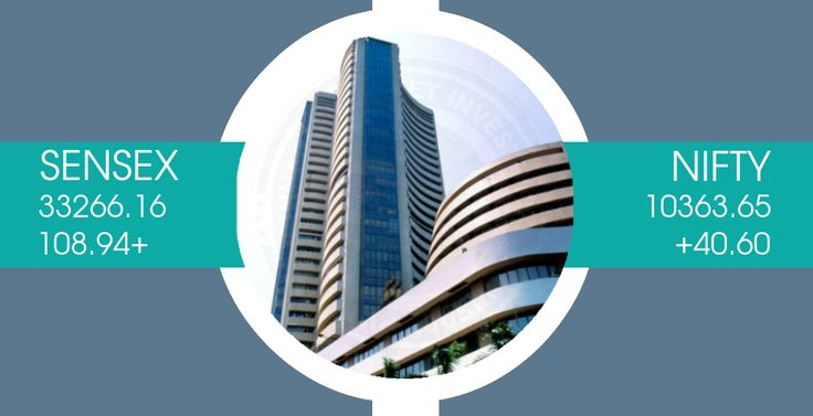 Benchmark indices began the week on a positive note, with the Nifty closing above 10,350-mark. The #Sensex closed up 108.94 points at 33266.16, while the #Nifty ended higher by 40.70 points at 10363.70. The market breadth was positive as 1,696 shares advanced against a decline of 1,032 shares, while 148 shares were unchanged. Tata Motors DVR, Lupin, Bharti Infratel and Yes Bank gained the most on both indices, while HUL, ITC and HCL Technologies were the top losers.