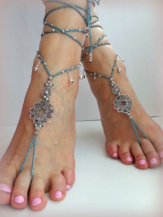 Bruids barefoot sandals Teal Bohemian Wedding sandalen door FiArt