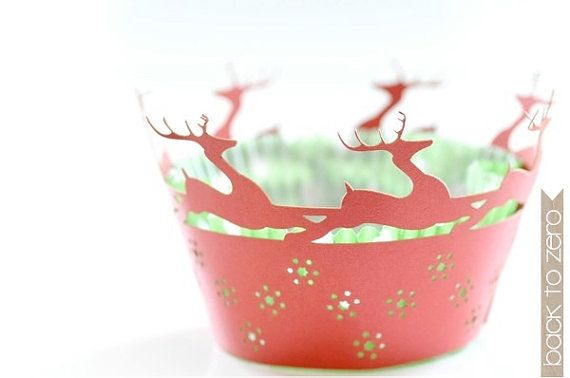Laser Cut Lace Cupcake Wrappers  Deer x 20 by BacktoZero on Etsy, $12.00