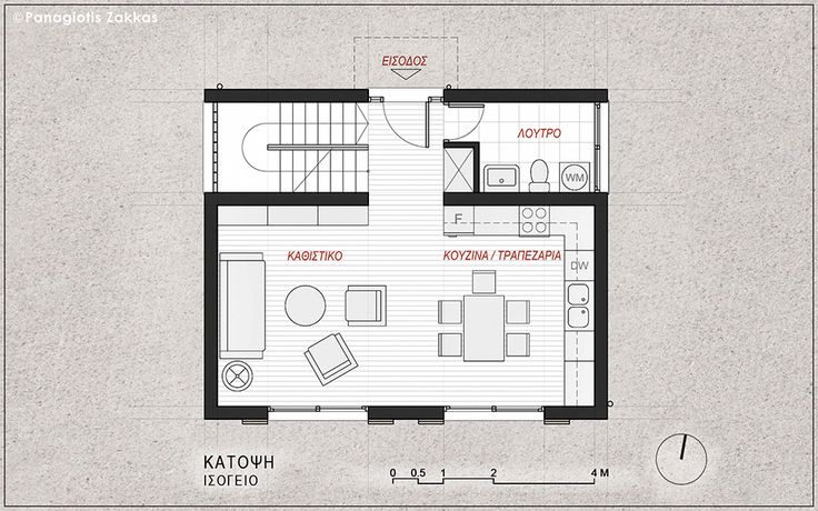 Low-Cost Standardised House 90 sqm, Ground Floor Plan - www.pzarch.gr