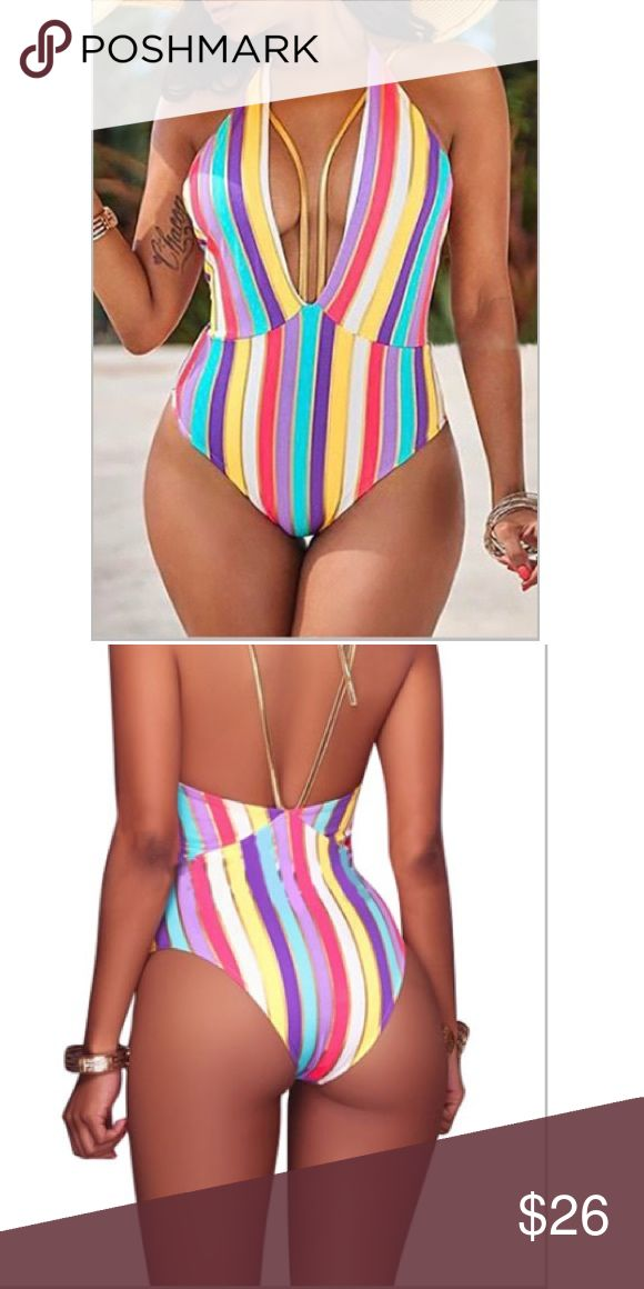 """Deep Stripes"" V neck swimsuit Deep vneck swim suit. Bathing suit. This is unpadded . 88% polyester 12% spandex Swim One Pieces"