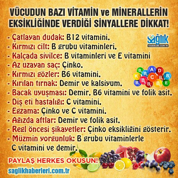 Vücudun bazı vitamin ve minerallerin eksikliğinde verdiği sinyallere dikkat!