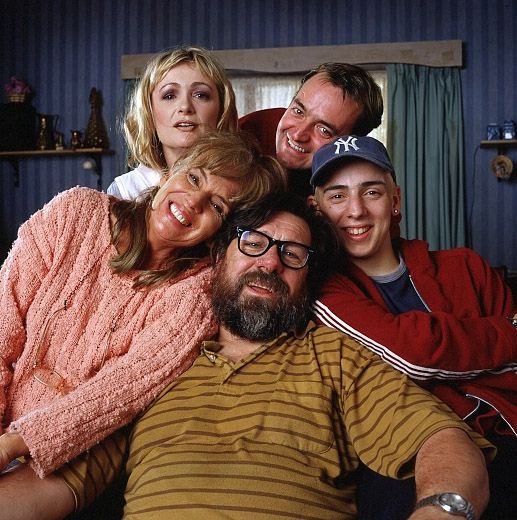 Caroline with Ralf, right, and the cast of the Royle Family