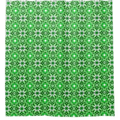 Floral Moroccan Tile Emerald And Lime Green Shower Curtain   Light Gifts  Template Style Unique Special