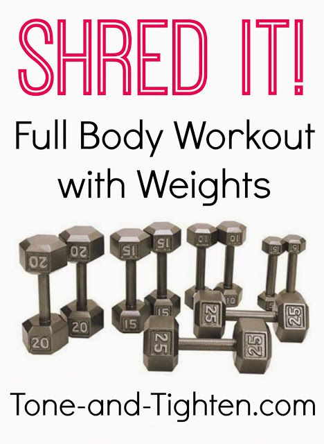 """Get """"shredded"""" with this killer total-body workout with weights! Let Jillian kick your butt into shape with this great video! On Tone-and-Tighten.com"""