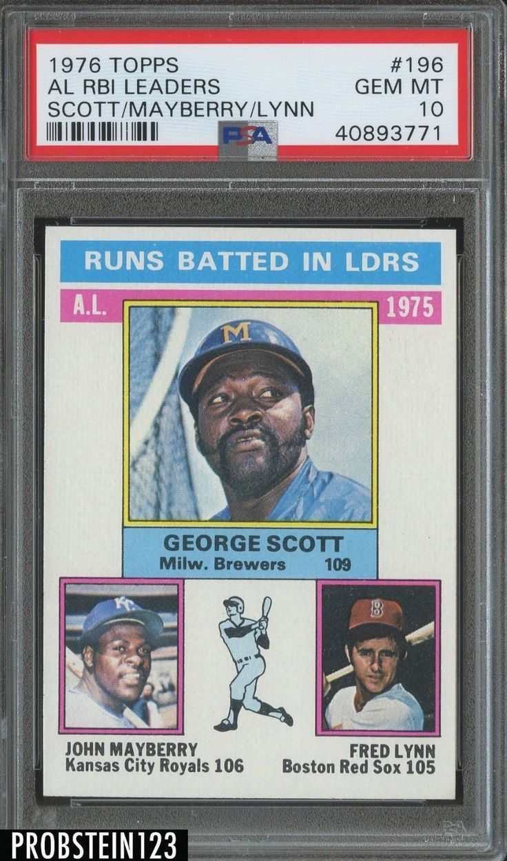 1976 topps 196 rbi leaders w fred lynn red sox psa 10