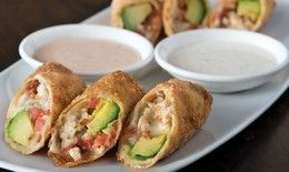 Recreate CPK's Avocado Club Egg Rolls...Chicken breast, applewood smoked bacon, avocado, and monterey jack cheese wrapped in a wonton.