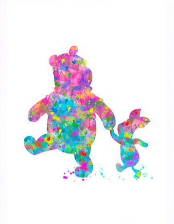 Pooh and Piglet splatter art