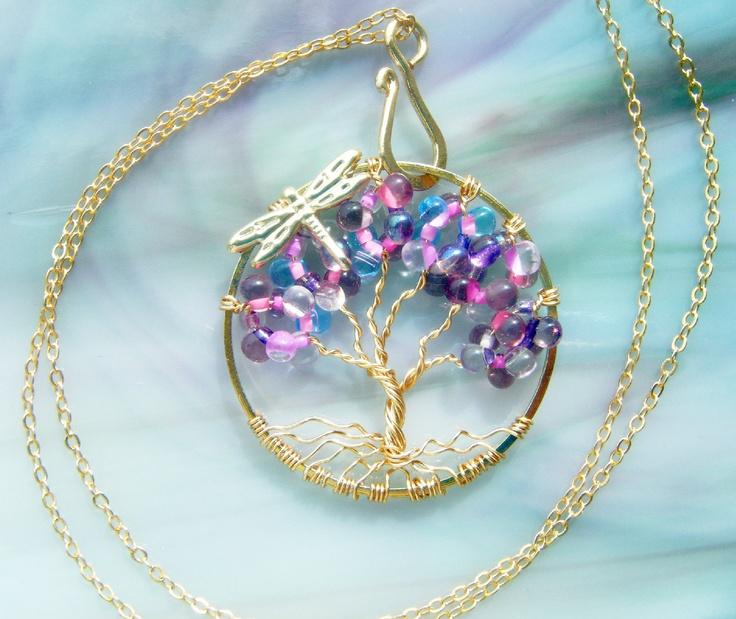 Wild Raspberry Tree of Life Necklace