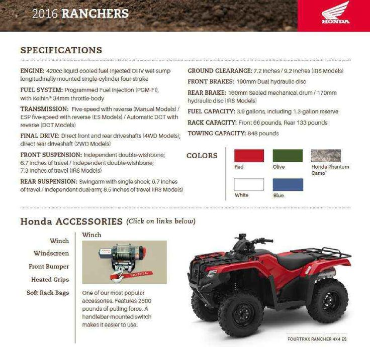 New 2016 Honda FourTrax® Rancher® ATVs For Sale in Arizona. Call Western Honda Powersports at 480.524.1435, text, or come see us for more information- Visit/ call us with $$ deposit and or be ready to buy this awesome machine! Our Powersports Dealership offers the lowest pricing possible, combined with a low pressure, easy to deal with, friendly staff. Everything is on sale at Western Honda in our Sales, Parts and Honda Service Departments. We shop the competition so you don't have to…