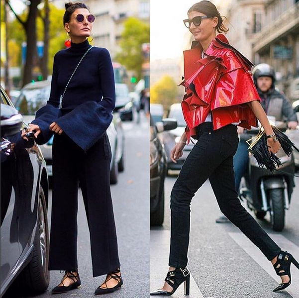 Its always a fab-fab world for @bat_gio season after season. Theres a certain boldness and energy about this one, making her a mainstay on the street style playground! This #FashionWeek she donned a few statement pieces like the red @commedesgarcons outer and laying low with @aquazzura's Belgravia flats, but of course with great big volume up her sleeves.