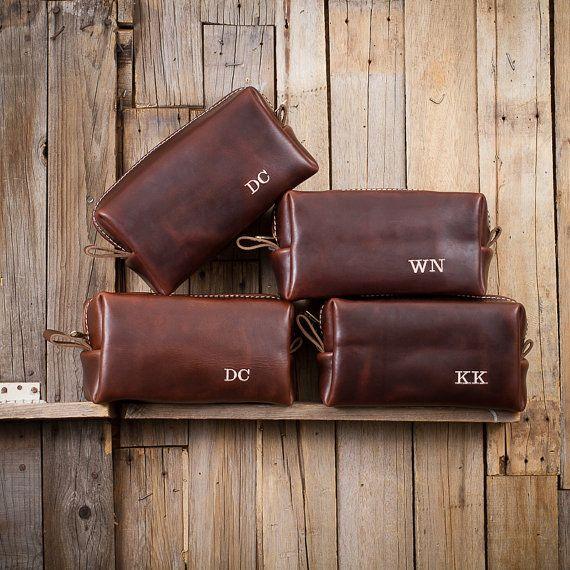 Famous Horween Leather Men's Toiletry Bag Dopp Kit Shaving Bag Groomsman Gift Wedding Present Men's Christmas Gift Lifetime Leather Co