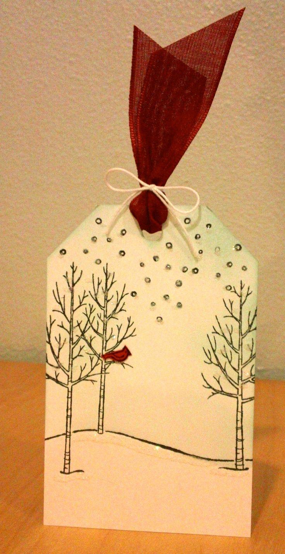 "Christmas Gift Tag, White Christmas, Stampin' Up! Holiday Catalog 2014 2015, Cherry Cobbler 1"" Sheer Linen Ribbon,"