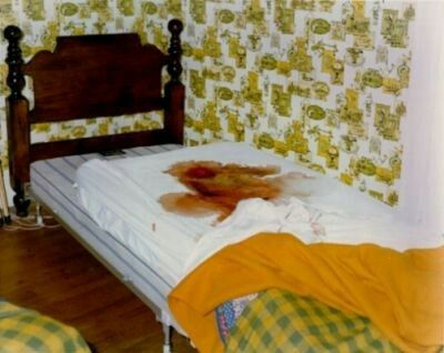 The blood stained bed of murder victim Marc DeFeo, who was murdered by Ronald DeFeo jr. during the mass murder of the Defeo family which would eventually become known as 'The Real Amityville Horror'.