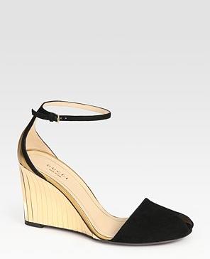 Gucci Metallic Leather wedge sandals.