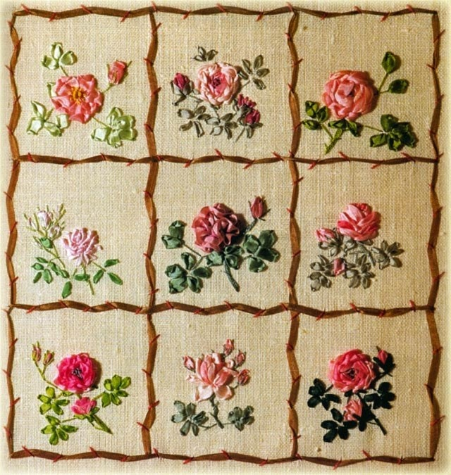 Silk Ribbon Embroidery Roses Flower Patterns Sampler - would make a nice pillow for a cottage-style or shabby chic room