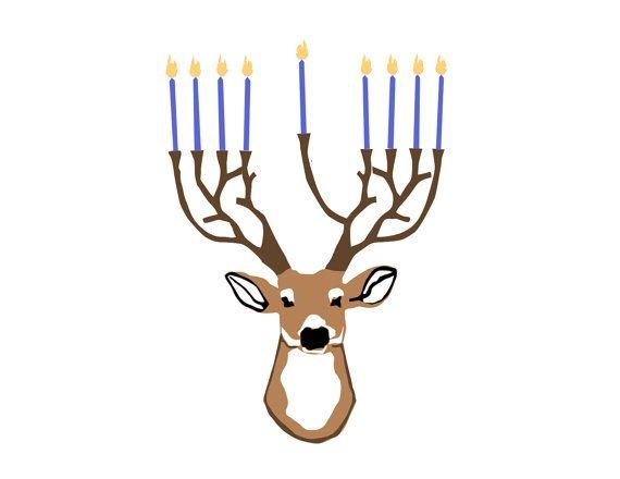 Deer-norah Hanukkah Card Set of 5 Cards by BunbunBird on Etsy